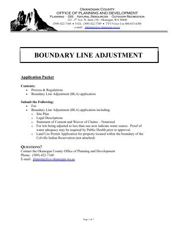 BOUNDARY LINE ADJUSTMENT - Okanogan County