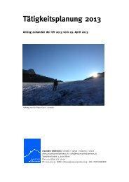 Tätigkeitsplanung 2013 - Mountain Wilderness Schweiz