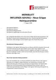 MERKBLATT INFLUENZA A(H1N1) – Neue Grippe Heimquarantäne