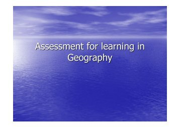 Assessment for learning in Geography - HERODOT Network for ...