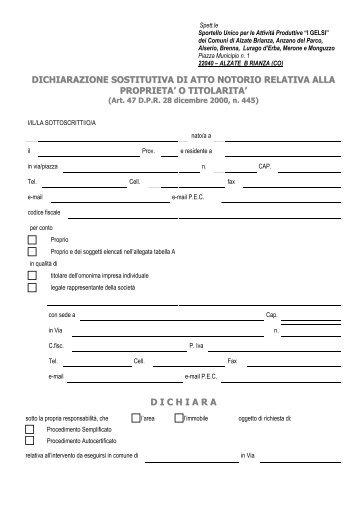 dichiarazione sostitutiva di atto notorio relativa alla proprieta