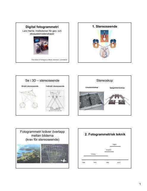 18. Digital fotogrammetri - Institutionen för naturgeografi och ...