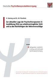 Zur aktuellen Lage der Psychotherapeuten in ... - PiAPORTAL
