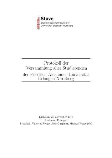 Protokoll (PDF) - Stuve Uni Erlangen-Nürnberg - Friedrich ...