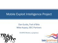 Mobile Exploit Intelligence Project - Trail of Bits