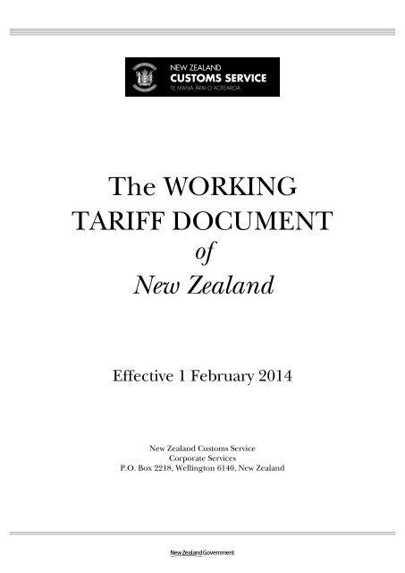 The Working Tariff Document New Zealand Customs Service