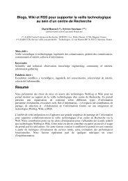 Blogs, Wiki et RSS pour supporter la veille technologique au sein d ...