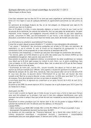 Quelques éléments sur le conseil scientifique du lundi 26/11/2012