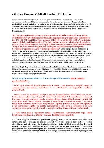 Okul ve Kurum Müdürlüklerinin Dikkatine - Edirne Milli Eğitim ...
