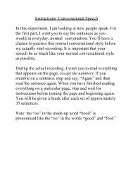 Instructions: Conversational Speech In this experiment, I am looking ...