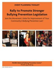 Rally to Promote Stronger Bullying Prevention ... - PACER Center