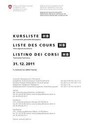 (PDF) KURSLISTE HB LISTE DES COURS HB LISTINO DEI