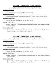 Teacher Appreciation Week Events - Hillcrest Elementary