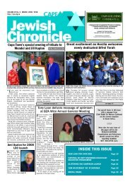 INSIDE THIS ISSUE - Cape Jewish Chronicle