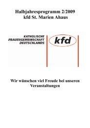 Halbjahresprogramm 2/2009 kfd St. Marien Ahaus - Pfarrgemeinde ...