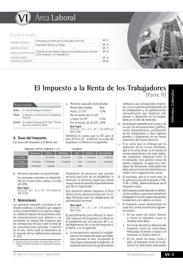 El Impuesto a la Renta de los Trabajadores - Revista Actualidad ...