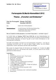 """Ferienspiele St.Mariä-Himmelfahrt 2012 Thema: """"Forscher und ..."""