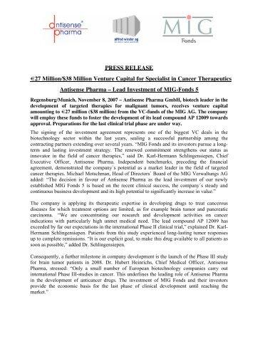 PRESS RELEASE €27 Million/$38 Million ... - Antisense Pharma