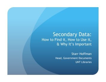 Secondary Data: