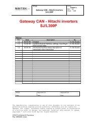 Gateway CAN - Hitachi inverters SJ/L300P - Esco Drives & Automation