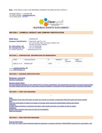 APREMILAST-Material Safety Datasheet - clearsynth