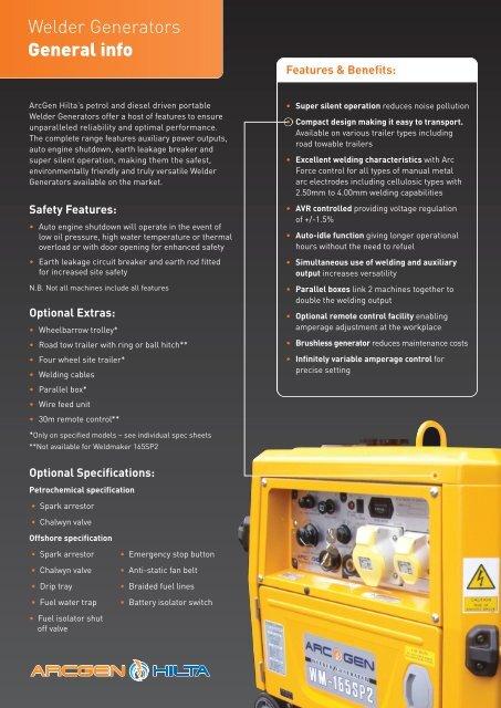 WELDMAKER GENERAL INFO pdf - Welding Generators