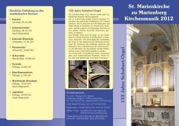 Flyer Kirchenmusiken 2012 - 133 Jahre Schubertorgel [610 KB