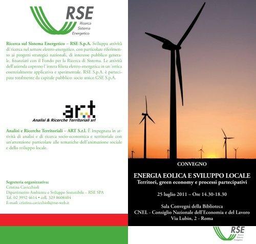 ENERGIA EOLICA E SVILUPPO LOCALE - Corrente - Gse