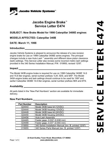 455 series housing assemb service letter e474 jacobs vehicle systems