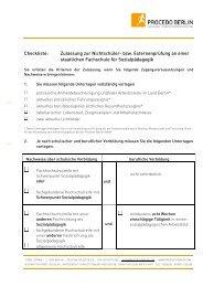 Checkliste zur Prüfungs-Zulassung - PROCEDO BERLIN