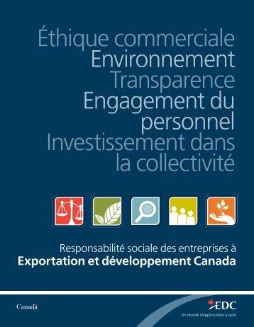 Responsabilité sociale des entreprises à Exportation et ... - EDC