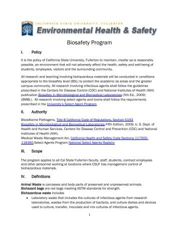 Biosafety Program - Risk Management and Safety - California State ...