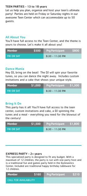Birthday Parties - YMCA of Greater Charlotte