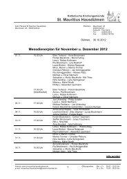 Messdienerplan für November u. Dezember 2012 - St. Mauritius ...