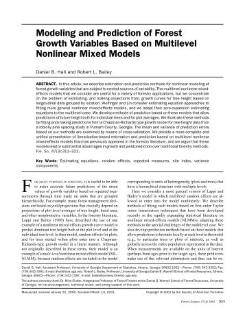 Modeling and Prediction of Forest Growth Variables Based on ...