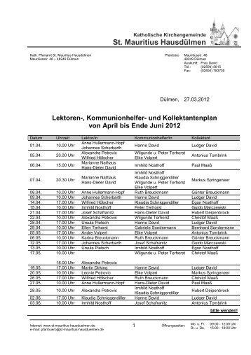 und Kollektantenplan von April bis Ende Juni 2012