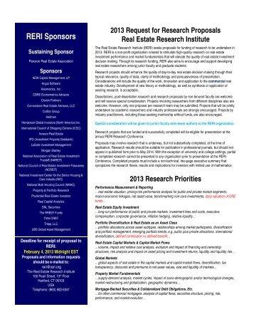 2013 RFP - Real Estate Research Institute