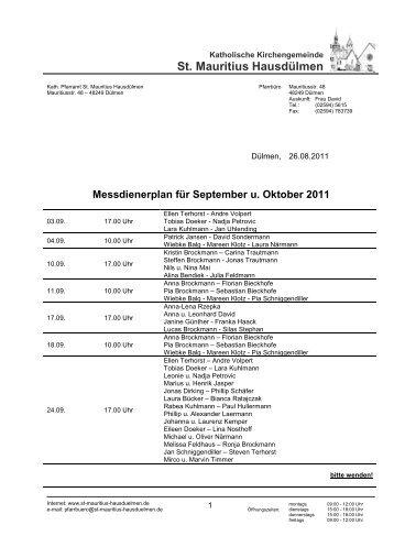 Messdienerplan für September u. Oktober 2011 - St. Mauritius ...