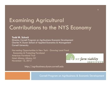 Examining Agricultural Contributions to the New York State Economy