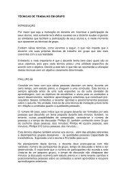 TÉCNICAS DE TRABALHO EM GRUPO INTRODUÇÃO Por maior ...