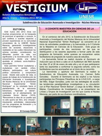 Año 6, Enero – Febrero 2012, Nº 31 - Decanato de Educación ...