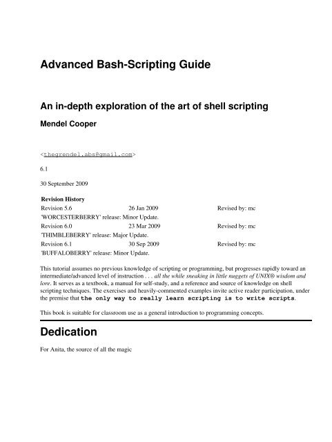 Advanced Bash-Scripting Guide - Goodie Domain Service