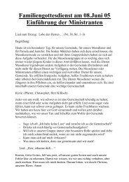 Familiengottesdienst am 08.Juni 05 Einführung ... - St. Michael, Ahe