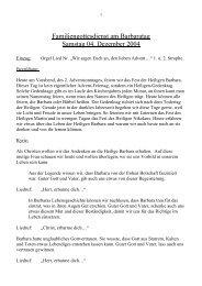 Familiengottesdienst am Barbaratag Samstag 04 ... - St. Michael, Ahe