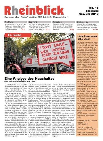 Eine Analyse des Haushaltes - Die Linke. Düsseldorf