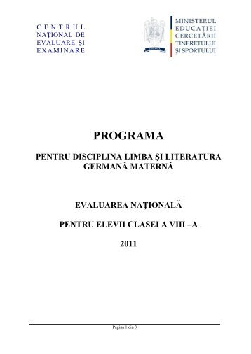 programa pentru disciplina limba şi literatura germană maternă
