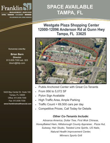 Westgate Plaza Shopping Ctr Tampa - Franklin Street Financial