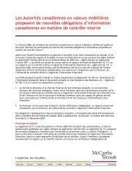Les ACVM proposent de nouvelles obligations d'information ...