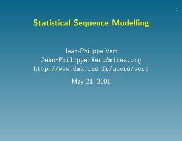 Statistical Sequence Modelling