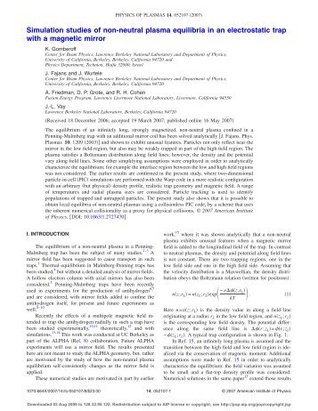 Simulation studies of non-neutral plasma equilibria in an ...